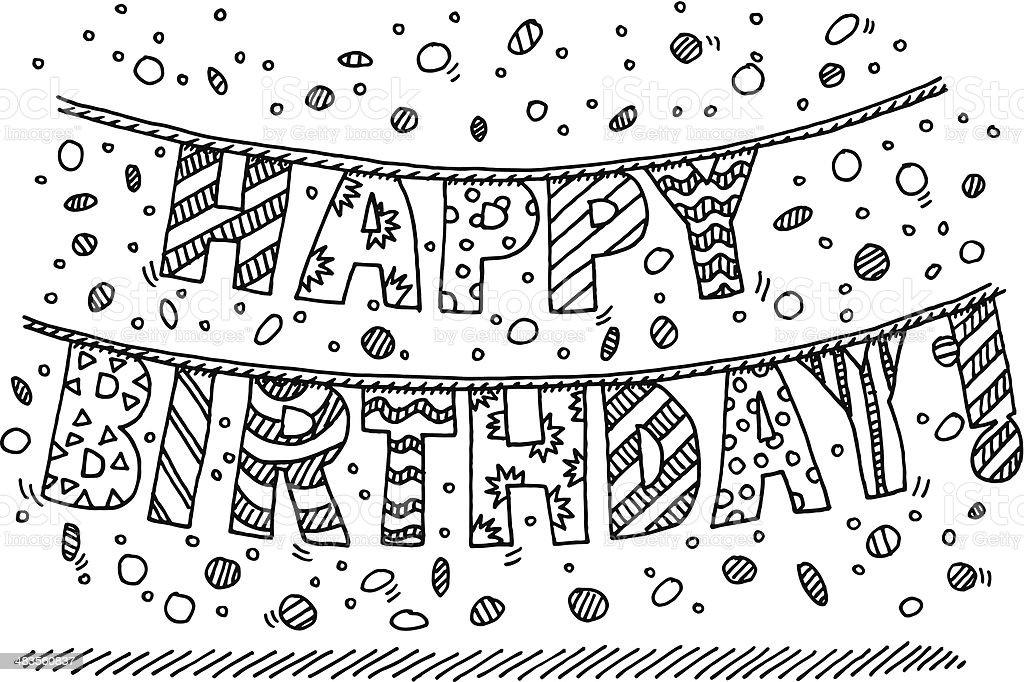 Joyeux anniversaire garland lettre dessin cliparts - Dessin joyeux anniversaire ...