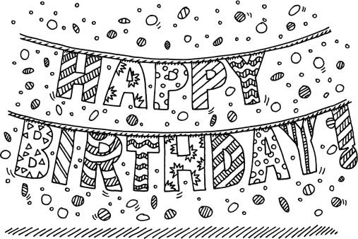 Happy Birthday! Garland Letter Drawing