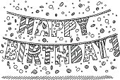 Hand-drawn vector drawing of Happy Birthday! Garland Letters. Black-and-White sketch on a transparent background (.eps-file). Included files are EPS (v10) and Hi-Res JPG.