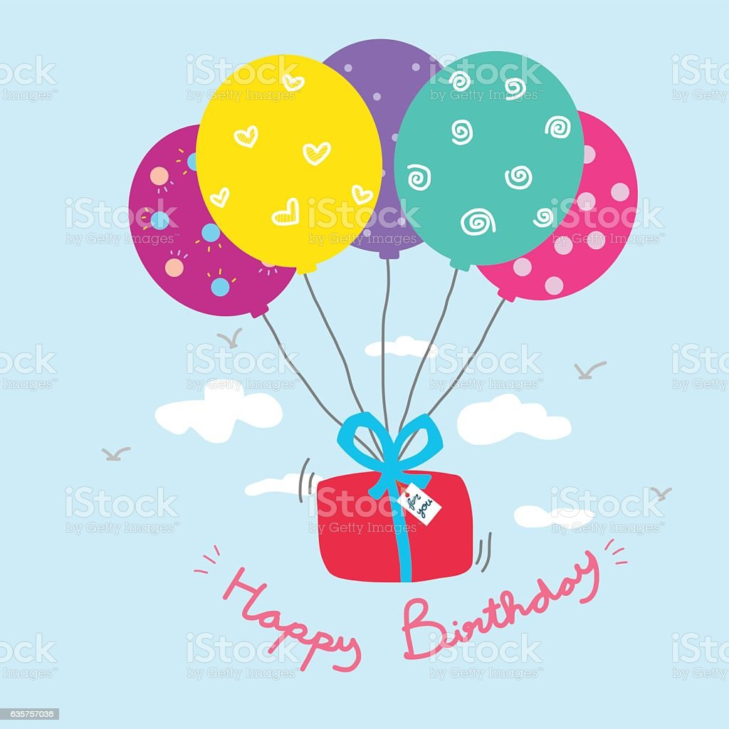 Happy birthday gift box and colorful balloon cartoon illustration happy birthday gift box and colorful balloon cartoon illustration negle Images