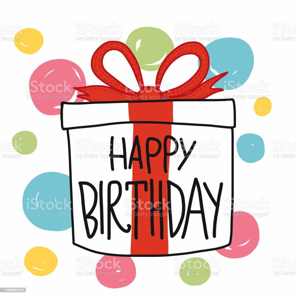 Happy Birthday Gift Box Colorful Polka Dot Cartoon Vector