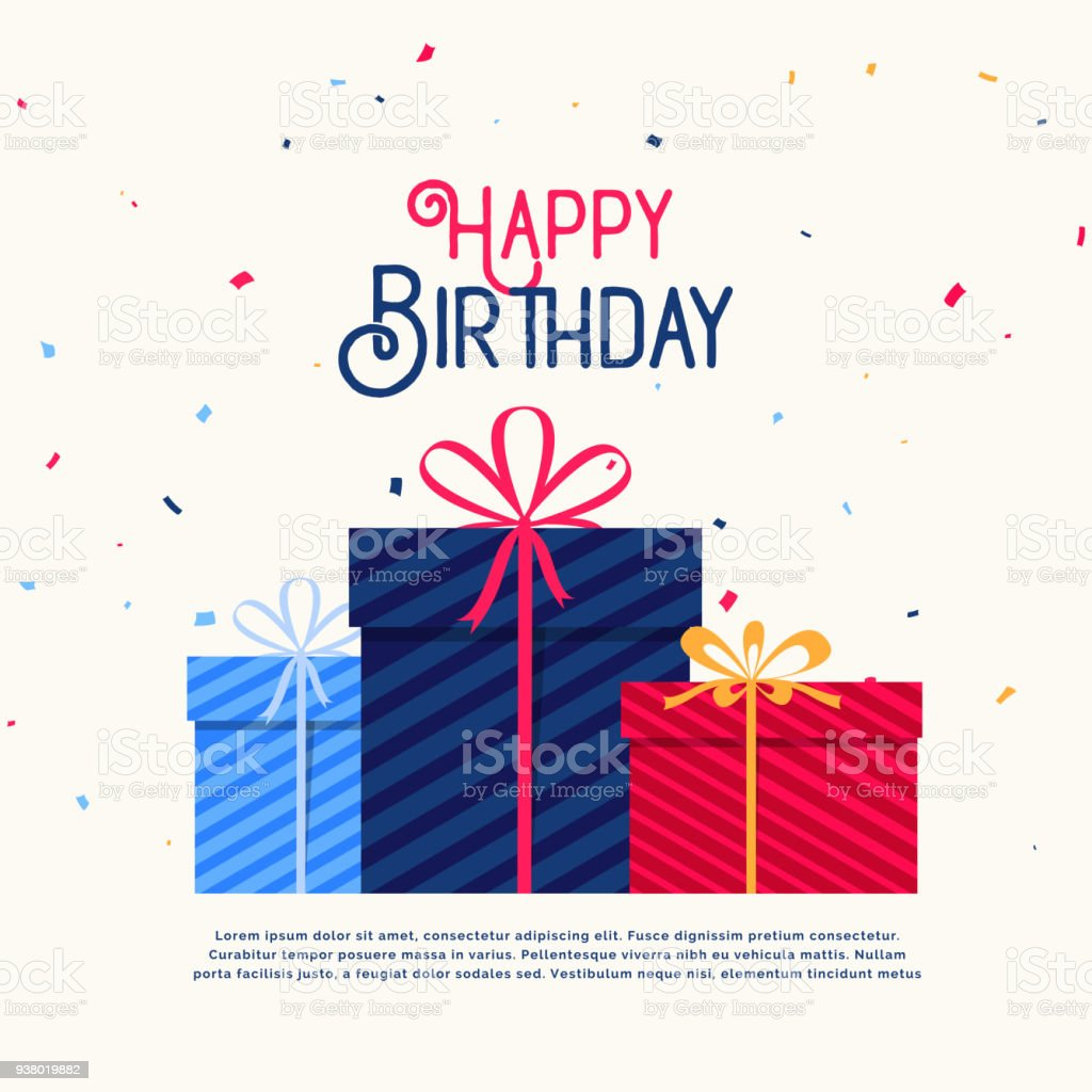 Happy Birthday Gift Boxes With Falling Confetti Stock Illustration