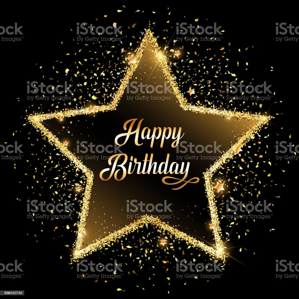Happy Birthday Gold Glitter Star Background Royalty Free Stock