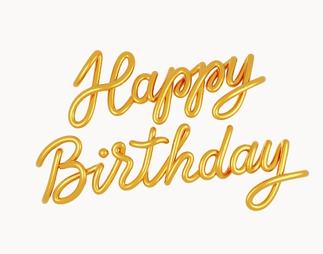 Happy Birthday Golden 3D text isolated on a white background. Greeting card.