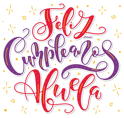 Happy birthday grandma - spanish colored lettering isolated on white background. Vector illustration for posters, photo overlays, greeting card and social media. Feliz cumpleaños abuela