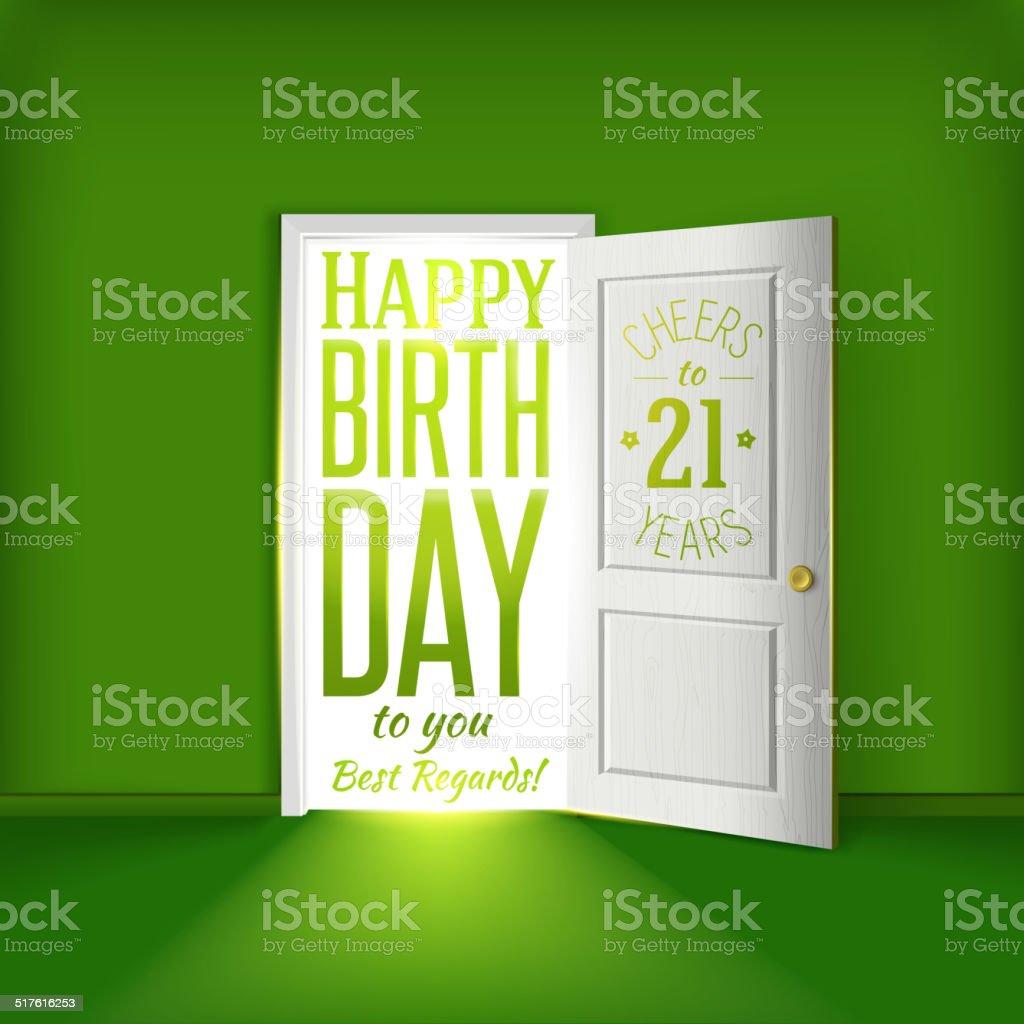 Joyeux Anniversaire Carte Verte Pour 21 Ans Felicitations Cliparts