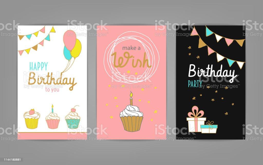Ilustración De Feliz Cumpleaños Felicitación Y Tarjetas De