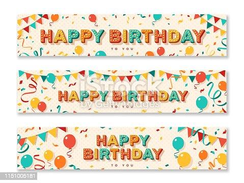 istock Happy Birthday greeting banners 1151005181