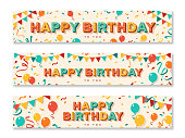 istock Happy Birthday greeting banners 1151005181