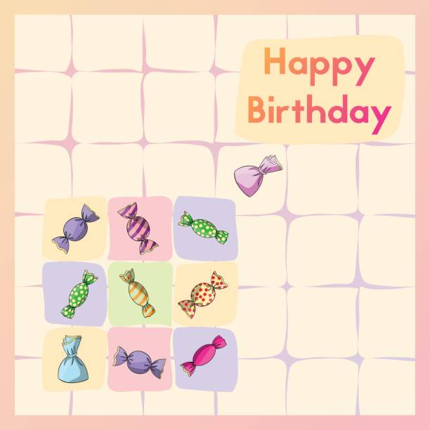 Happy Birthday Greeting Birth Card With Sweet Postcard Candy Stock Vector Art More Images Of Anniversary 692851588