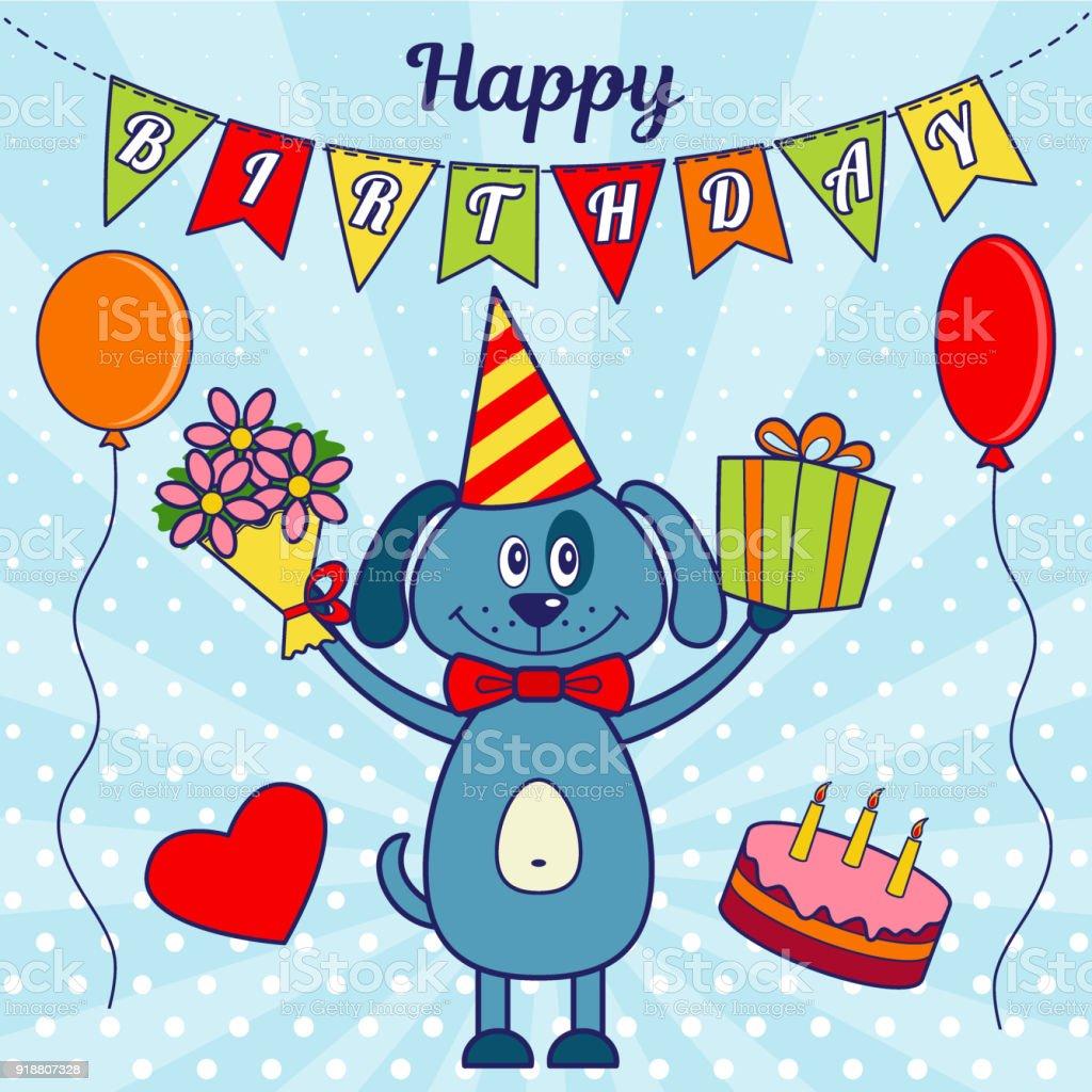 Happy birthday greeting card a cartoon dog with a gift and a bouquet happy birthday greeting card a cartoon dog with a gift and a bouquet of flowers izmirmasajfo