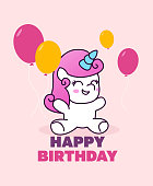 Happy birthday greeting card and baby posters with cute unicorns and balloons. Vector illustration, hand drawn style.