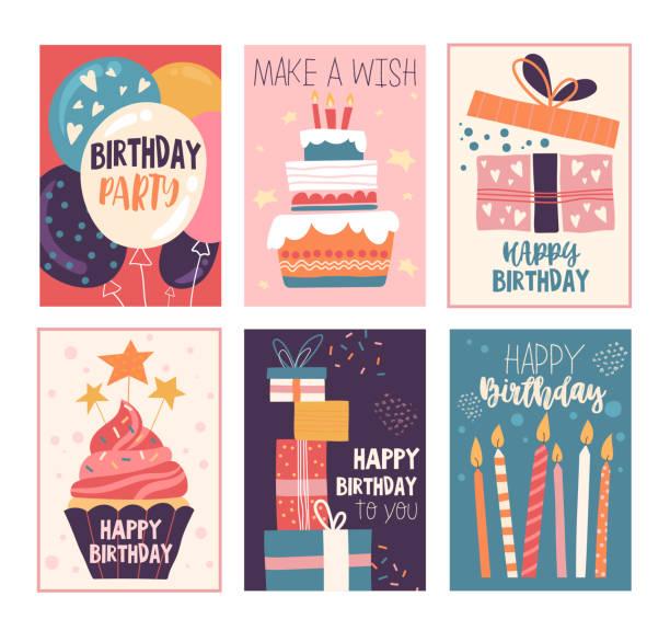 ilustraciones, imágenes clip art, dibujos animados e iconos de stock de tarjeta de felicitación de cumpleaños feliz y conjunto de invitaciones - cumpleaños