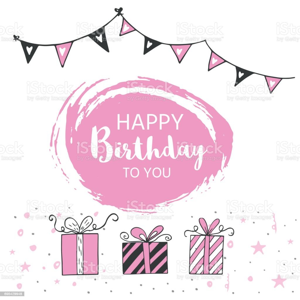 Happy birthday greeting card and party invitation templates black happy birthday greeting card and party invitation templates black and pink colors hand drawn kristyandbryce Image collections