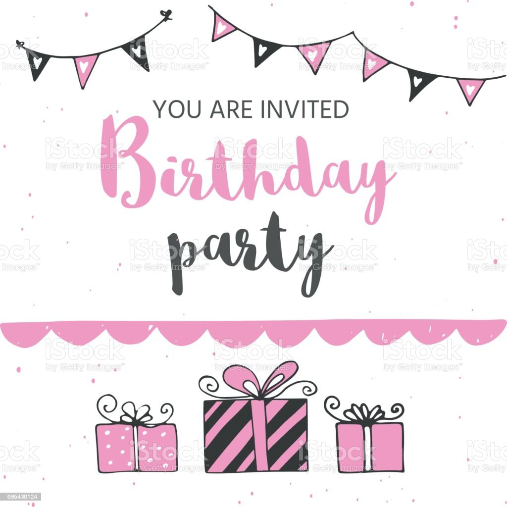 Happy Birthday Greeting Card And Party Invitation Templates Black Pink Colors Hand Drawn Elements For Perfect Girls Design