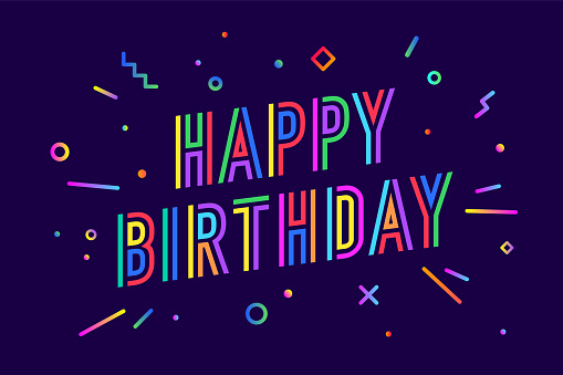Happy birthday. Greeting card, banner, poster and sticker concept