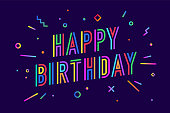 Happy birthday. Greeting card, banner, poster and sticker concept, geometric style with text Happy Holiday. Happy anniversary lettering card, invitation card, banner for birthday. Vector Illustration