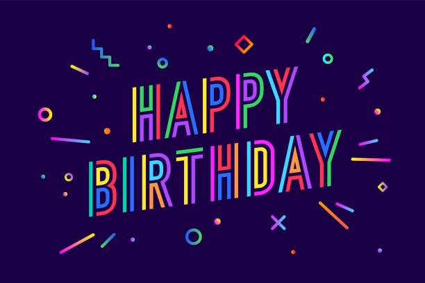 ilustraciones, imágenes clip art, dibujos animados e iconos de stock de feliz cumpleaños. tarjeta de felicitación, banner, poster y sticker de concepto - cumpleaños