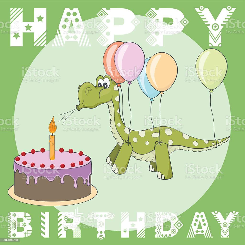 Magnificent Happy Birthday Greeting Card Cake Balloons Dino Stockvectorkunst Funny Birthday Cards Online Alyptdamsfinfo