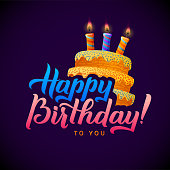 Happy Birthday Greeting Card. Cake with candles. Hand Lettering -