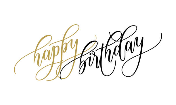 Happy Birthday Greeting Card Calligraphy Hand Drawn Vector Postcard Font Lettering Art Illustration