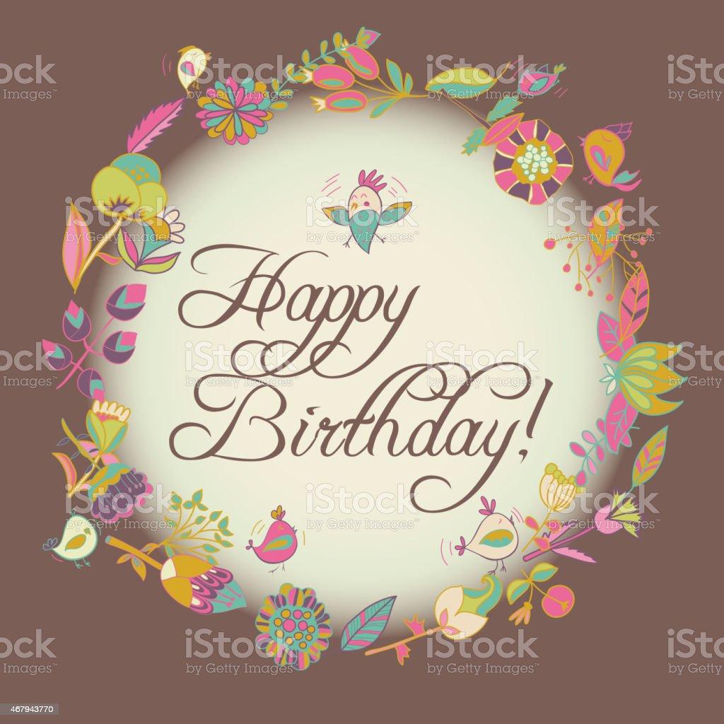 Popolare Auguri Di Buon Compleanno Di Credito Cerchio Cornice Floreale  YX63