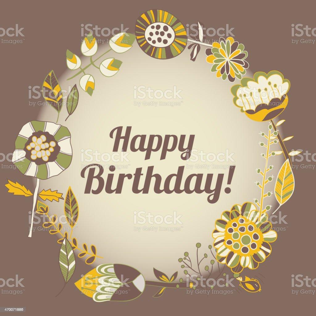 Popolare Auguri Di Buon Compleanno Di Credito Cerchio Cornice Floreale  YV17