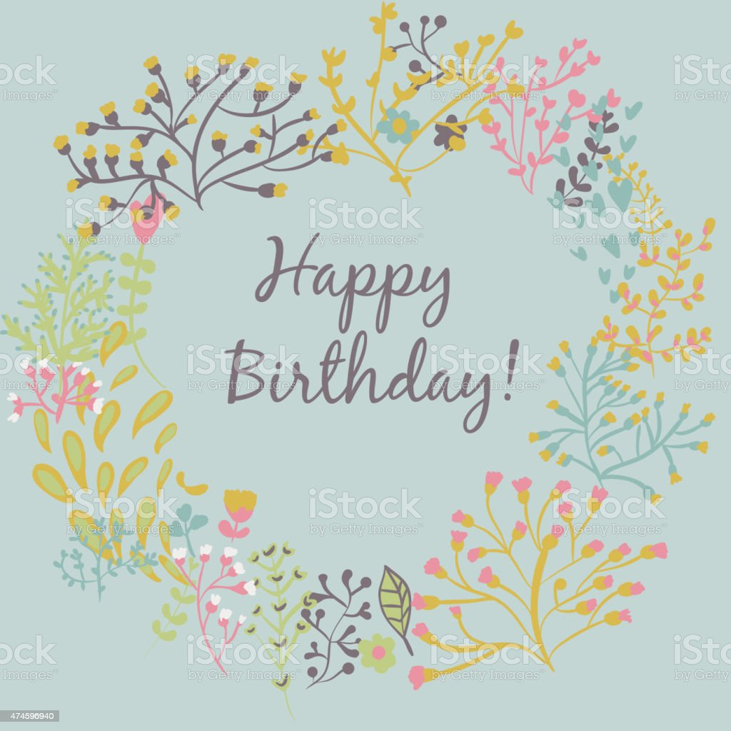 Happy Birthday Greeting Card Circle Floral Frame Stock Vector Art