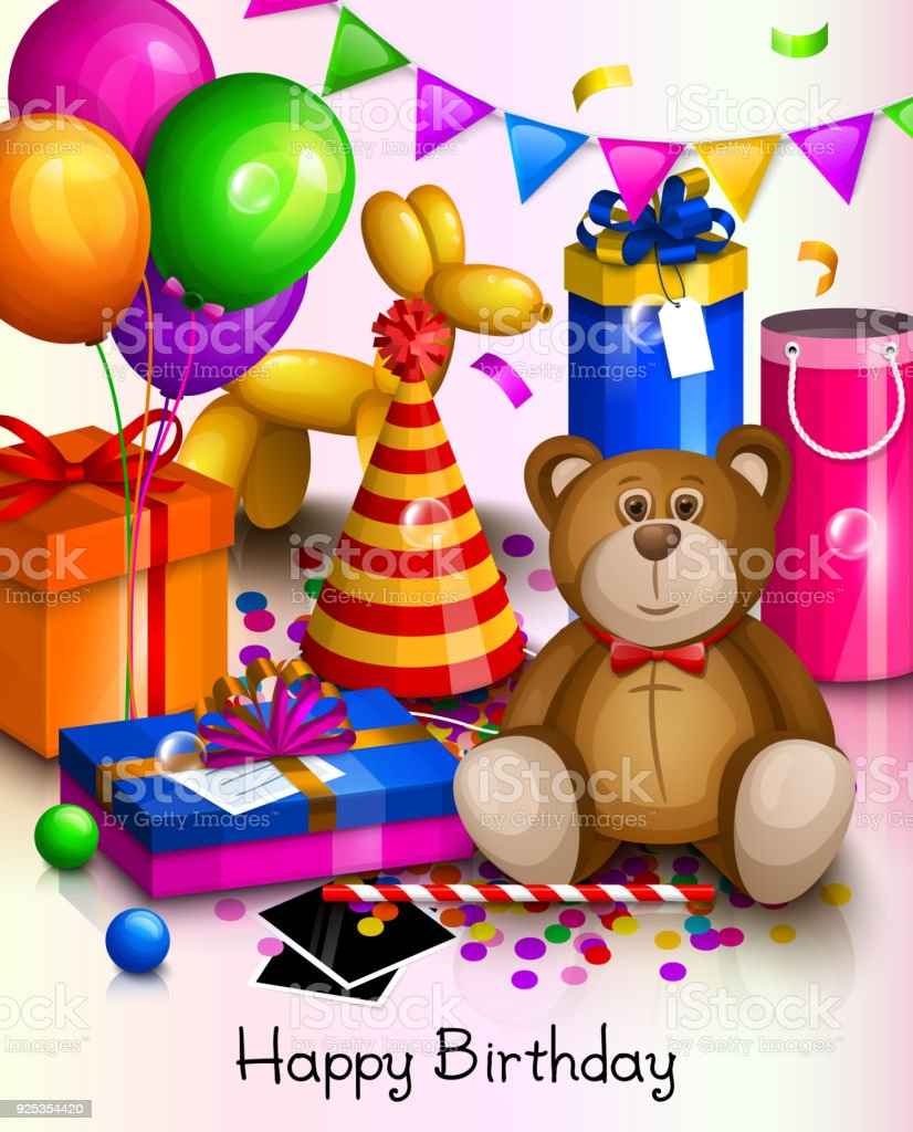 Happy Birthday Greeting Card Colorful Wrapped Gift Boxes Lots Of Presents And Toys