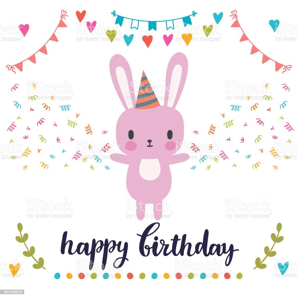 Happy birthday greeting card cute postcard with funny little bunny happy birthday greeting card cute postcard with funny little bunny royalty free happy birthday m4hsunfo