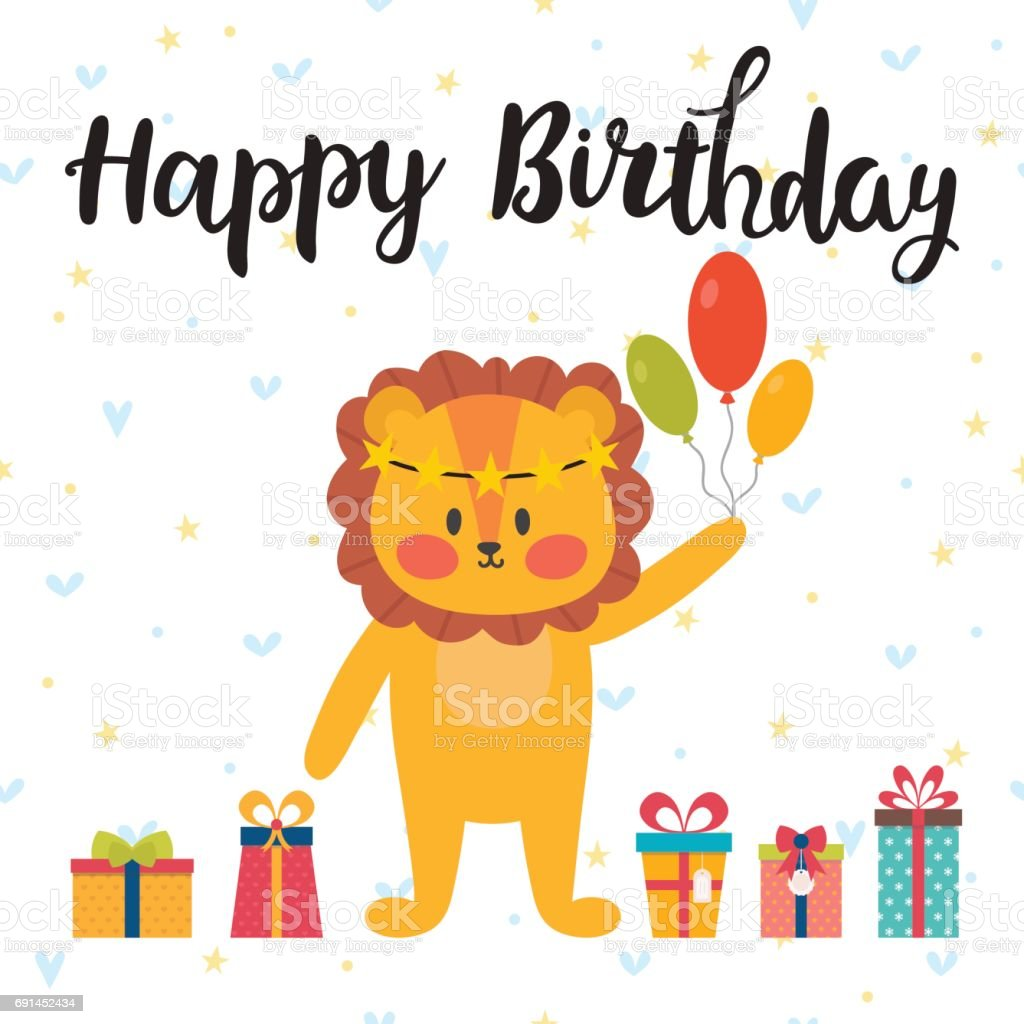 Happy Birthday Cute Greeting Card With Funny Little Lion stock – Cute Birthday Greeting Cards