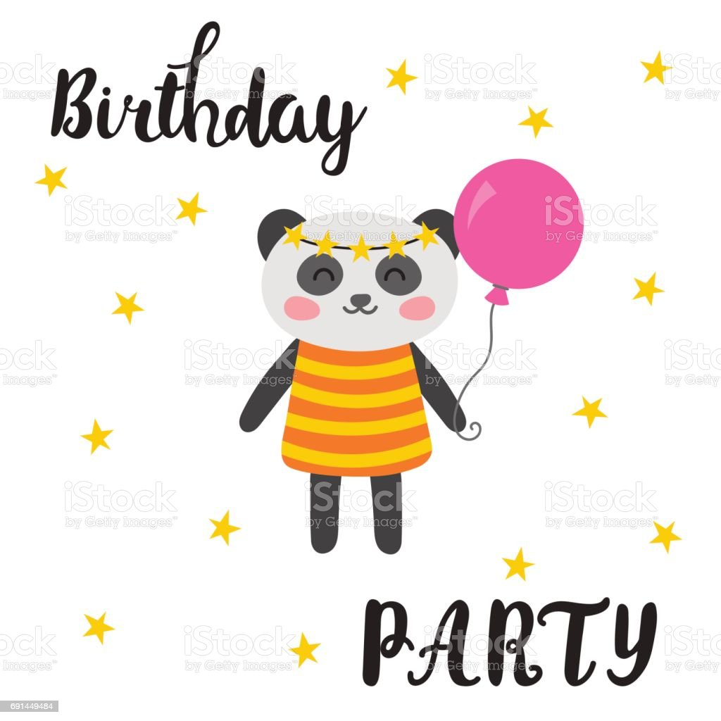 Happy birthday greeting card cute postcard with funny little panda happy birthday greeting card cute postcard with funny little panda cartoon animals royalty kristyandbryce Image collections