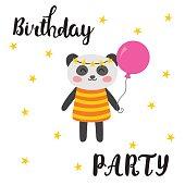 Happy Birthday greeting card. Cute postcard with funny little panda. Cartoon animals. Vector illustration