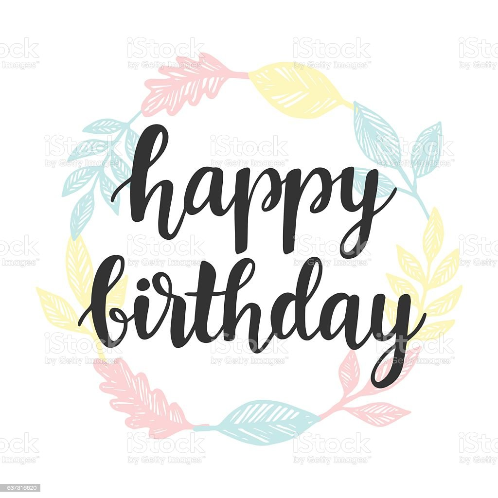 Happy Birthday Greeting Card Design Template With Cute