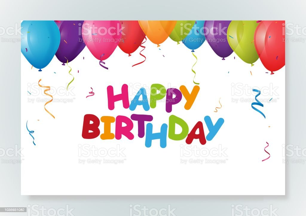 Happy Birthday Greeting Card Design With Confetti Stock Vector Art