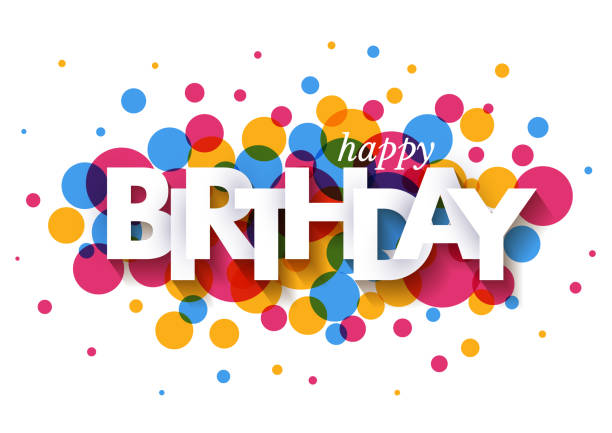 ilustraciones, imágenes clip art, dibujos animados e iconos de stock de feliz cumpleaños diseño de tarjeta de felicitación con papel de corte de letras y confeti colorido sobre fondo blanco. ilustración vectorial. - cumpleaños