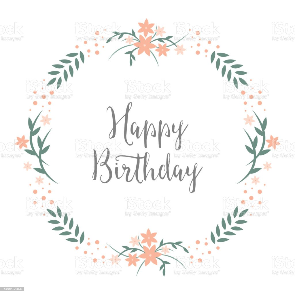 happy birthday greeting card design with round floral wreath pastels flowers and blossoms framing birthday - Happy Birthday Cards Flowers