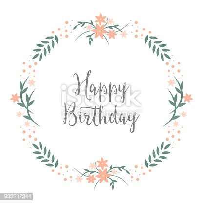 Happy Birthday Greeting Card Design With Round Floral Wreath Pastels