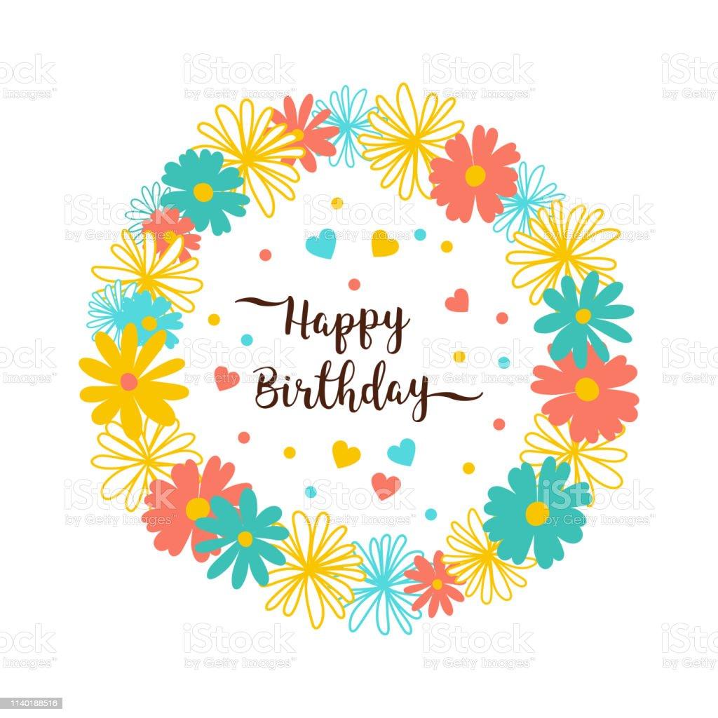 Happy Birthday greeting card Flower wreath. Trendy Birthday...