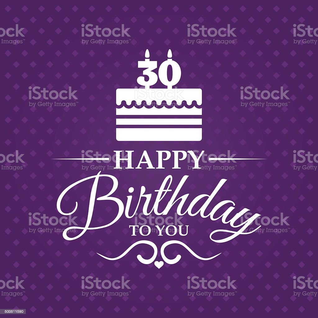 Happy birthday greeting card for 30 years. vector art illustration