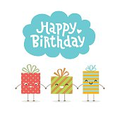 Happy birthday greeting card. Gift boxes smiling and holding hands