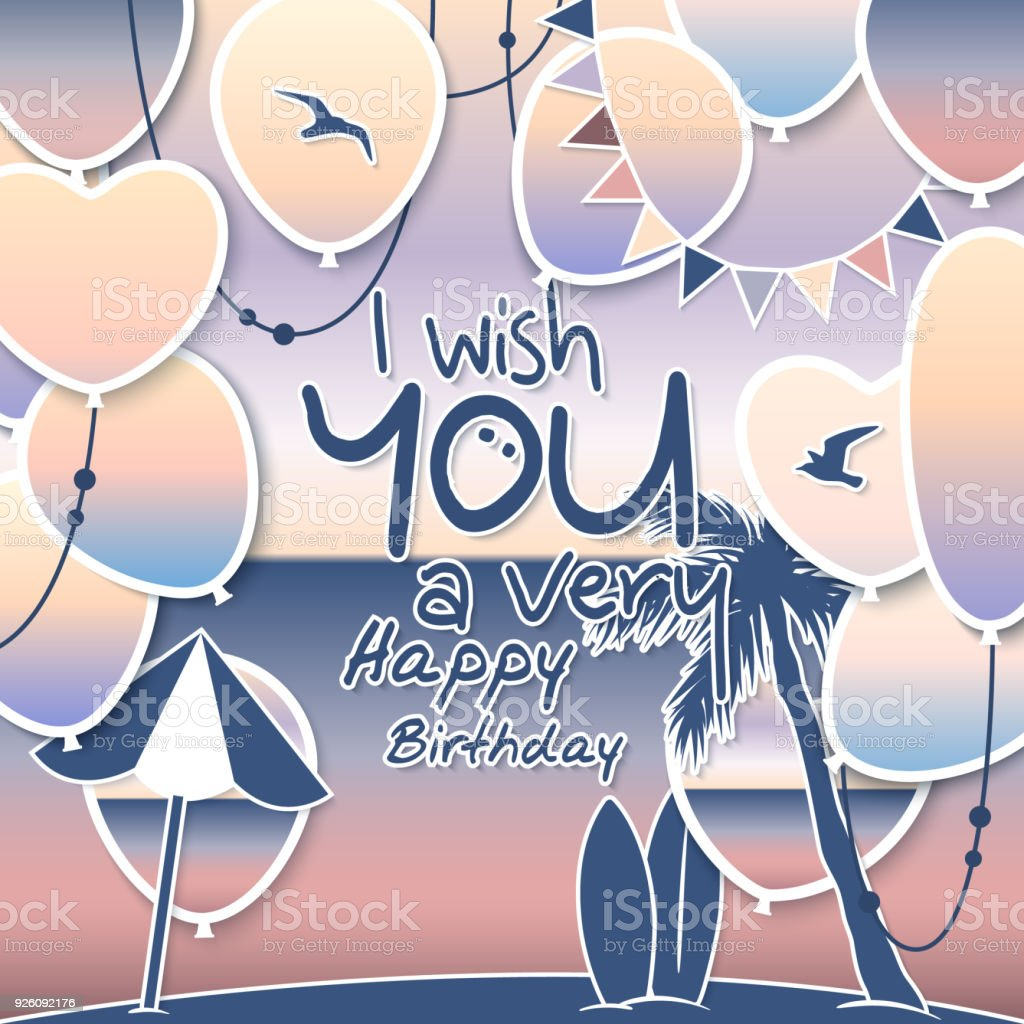 Happy Birthday Greeting Card Gradient Balloons With Sea And Sky