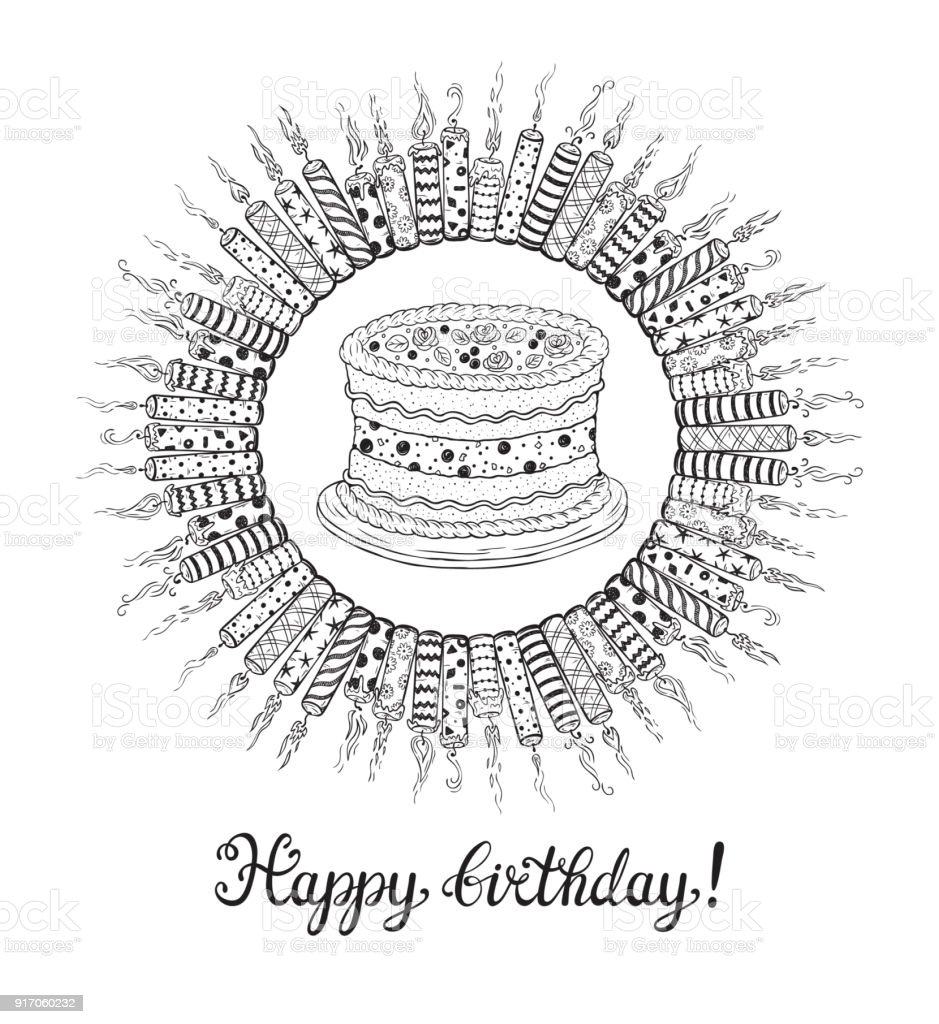 Happy Birthday Greeting Card Hand Drawn Doodle Burning Patterned