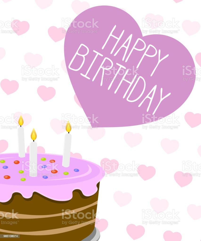 Happy Birthday Greeting Card Illustration With Heart Shapes And