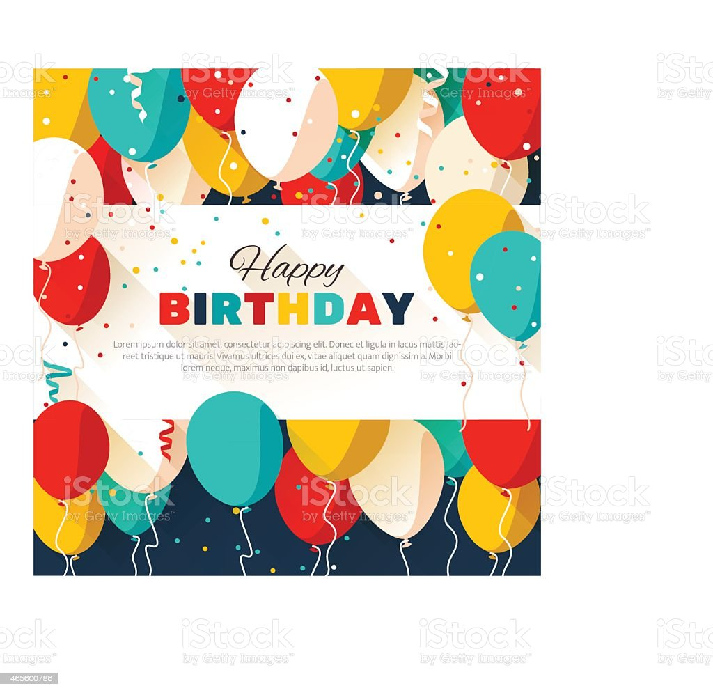 Happy Birthday greeting card in a flat style vector art illustration