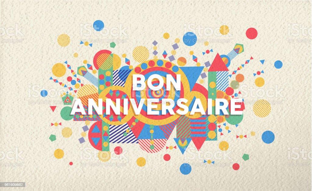 Carte De Voeux De Joyeux Anniversaire En Francais Langue Cliparts