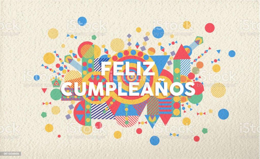 Happy Birthday Greeting Card In Spanish Language Stock Vector Art