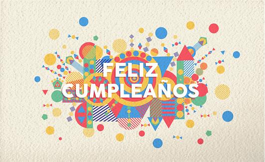 happy birthday greeting card in spanish language stock