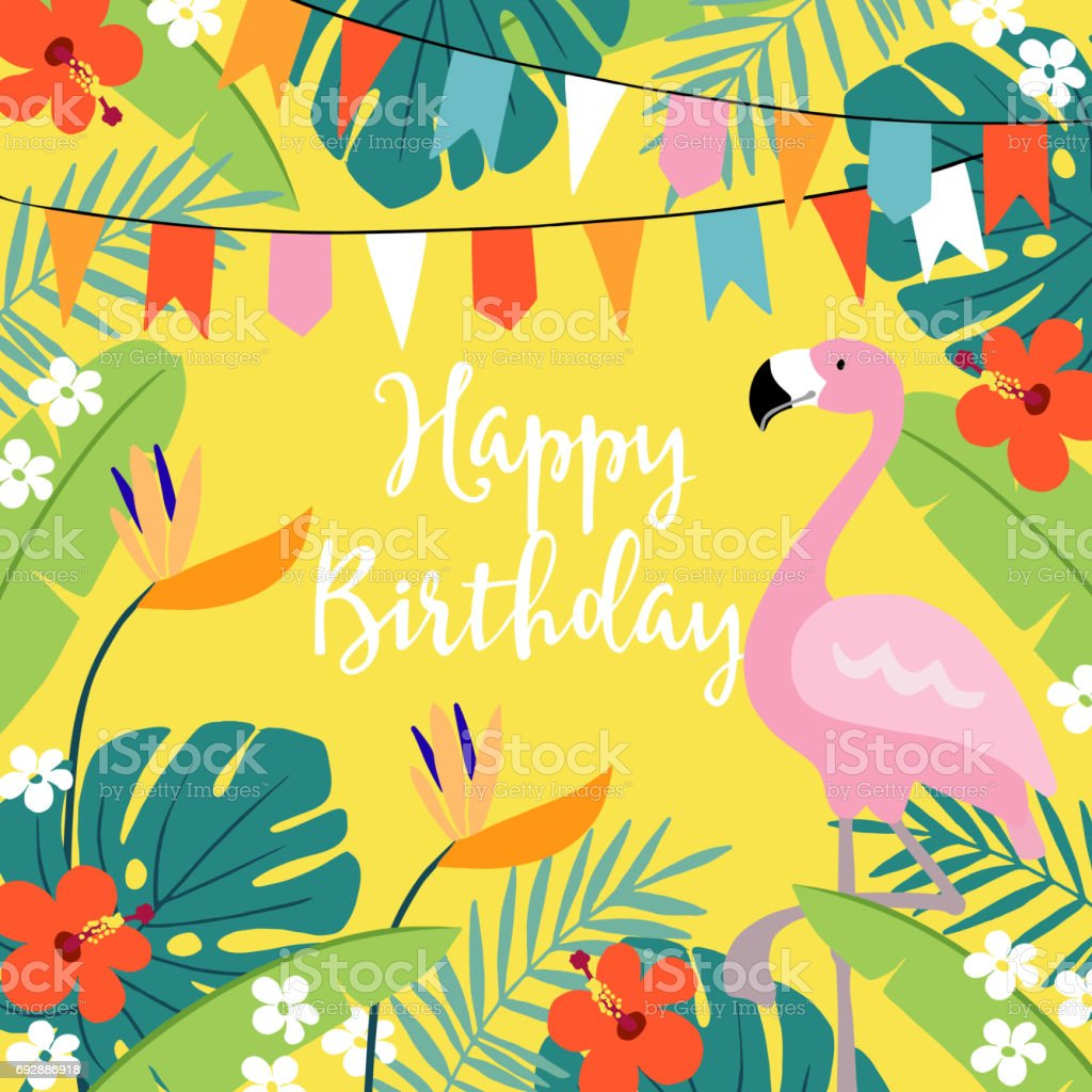 Happy Birthday Greeting Card Invitation With Hand Drawn Palm Leaves