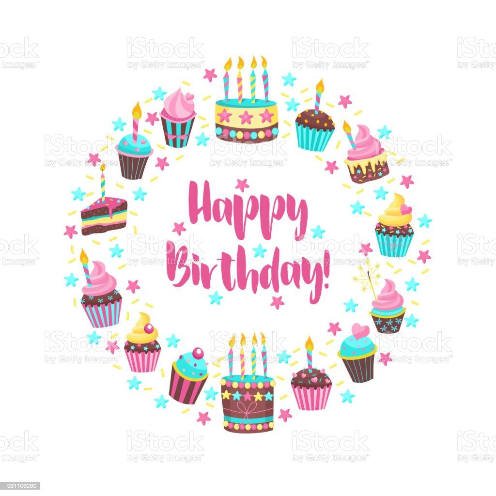 Happy birthday greeting card lovely birthday cakes with candles a happy birthday greeting card lovely birthday cakes with candles a set of different cakes kristyandbryce Gallery